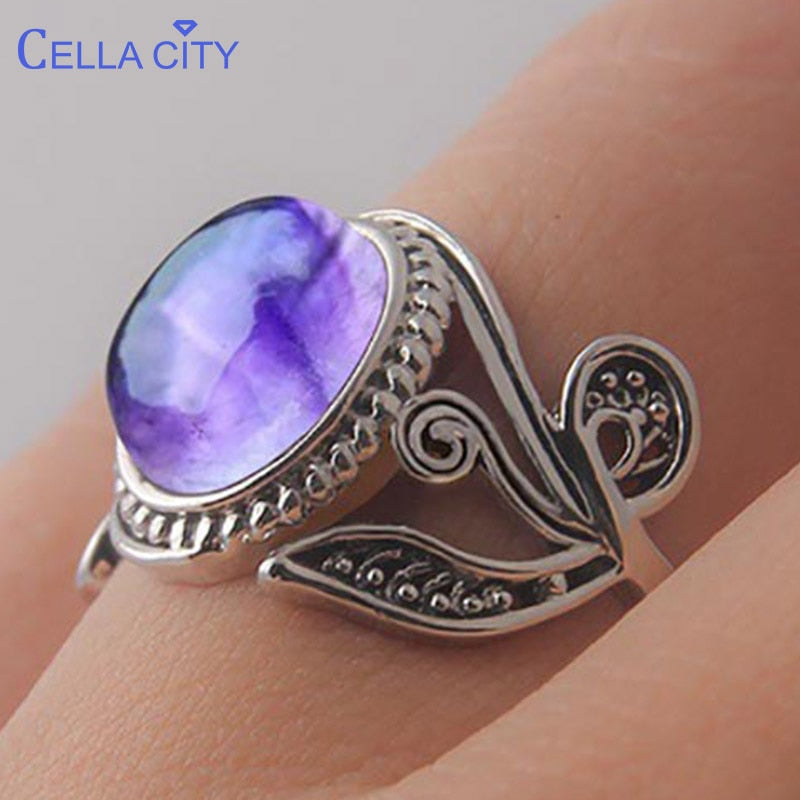 Cellacity Vintage amethyst  925 silver ring with round natural gemstone Wedding Engagement silver women Fine Jewelry Size 6-10