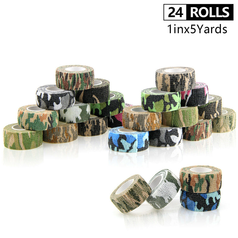Travel Camping Camouflage Wraps Outdoor Hiking Camo Bandage Fabric Gauze Tattoo Tape First Aid for Sports Ankle 25MM 24 rolls
