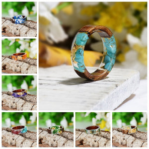 Handmade Wood Resin Ring Dried Flowers Plants Inside Jewelry