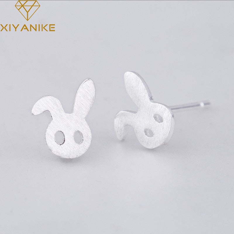 XIYANIKE 925 Sterling Silver 2019 New Creative Prevent Allergy Rabbit Stud Earrings Korean Style Cute Jewelry For Women Gift