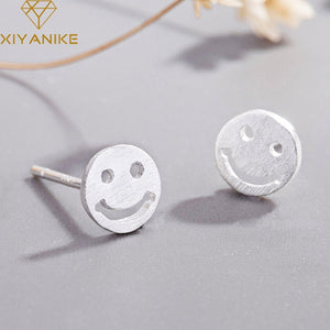 XIYANIKE 925 Sterling Silver 2019 Hot Sale Creative Jewelry Earrings For Woman Handmade Simple Smiley Face Stud Earring Gift