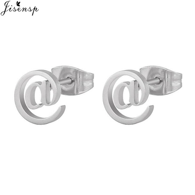Jisensp Geometric Stainless Steel Earrings Simple Design Swirl Stud Earrings Fashion Jewelry for Women Girls Wedding Jewelry