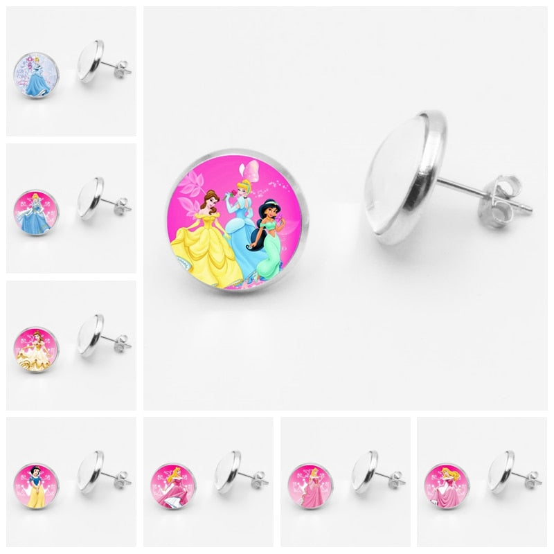 Glass Round Cinderella Princess Elsa and  Anna  Earrings