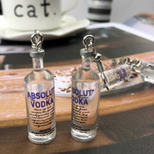 Load image into Gallery viewer, Creative Cool Vodka Bottle Drop Earrings for Women Girl 2019 Funny Drinking Style Cartoon Transparent Bottle Dangle Earrings