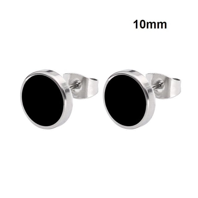 GLHGJP 1 Pair Fashion Women Stainless Steel Earring Round Shape Vintage Stud Earrings for Man Trendy Party Black Earring Jewelry