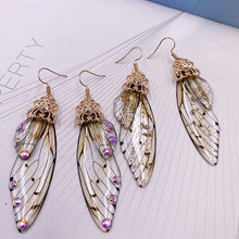 Load image into Gallery viewer, New Handmade Fairy Simulation Wing Earrings Insect Butterfly Wing Drop Earrings Foil Rhinestone Earrings Romantic Bridal Jewelry