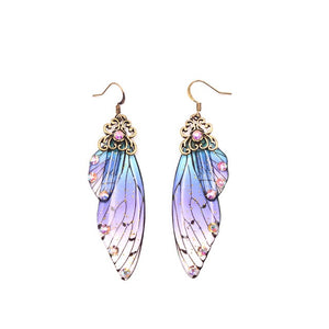 New Handmade Fairy Simulation Wing Earrings Insect Butterfly Wing Drop Earrings Foil Rhinestone Earrings Romantic Bridal Jewelry