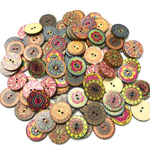 100pcs/Bag Round Assorted Floral Printed Wooden Decorative Buttons for DIY Sewing Crafts Color Random Accessories
