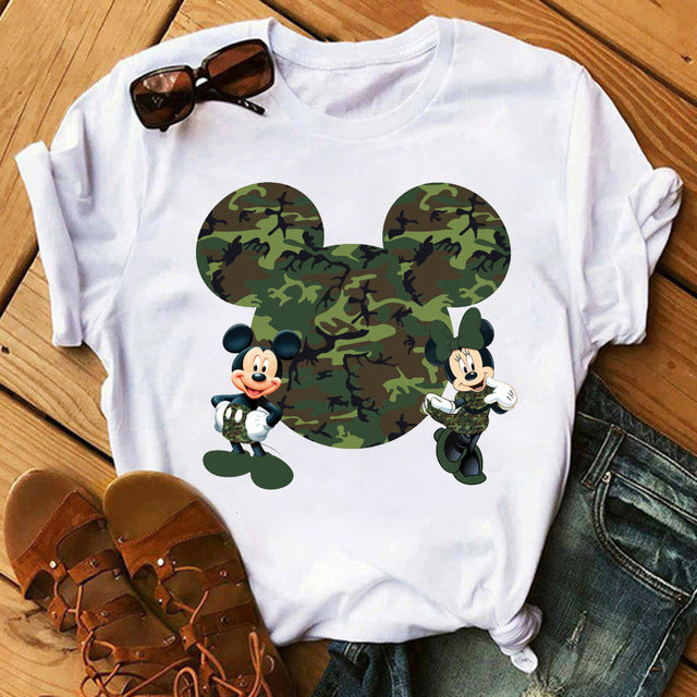 Mickey Mouse Print Short Sleeve Casual Woman Tshirt