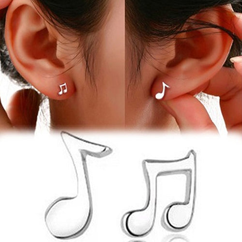 1 Pair Women Asymmetry Musical Notes Silver Plated Ear Studs Earrings Jewelry  96BL