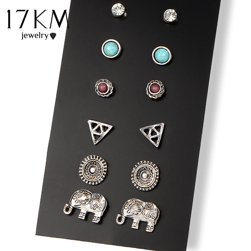 Brincos Elephant Stud Earring 6 Pairs/Set Boho Antique