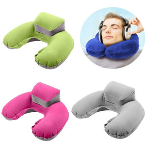 Portable U-Shape Neck Support Pillow cervical collar Outdoor Travel Camping neck brace Inflatable Cushion Nap Savior Health Care
