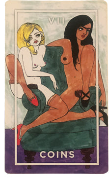 Image of 7 of Coins card from the Slutist Tarot Deck, shows two women naked on a green couch