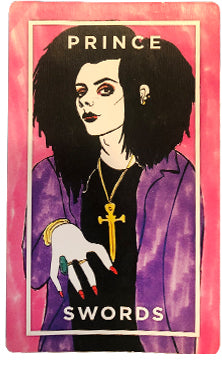 Image: Prince of Swords from The Slutist Tarot Deck, shows person with black hair, purple jacket, and long red nails