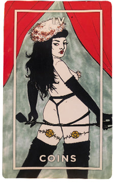 Image: Four of Coins card from The Slutist Tarot Deck, shows person with longblack hair wearing black lingerie and garters, with a whip held behind their bum