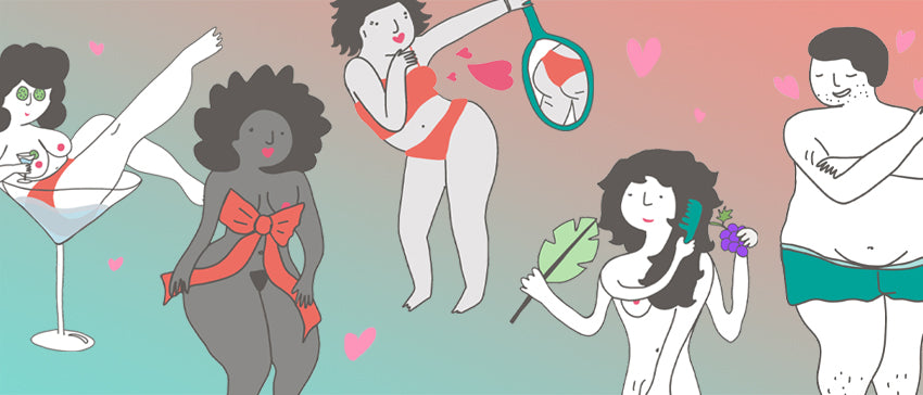 image Masturbation May Love Language illustrations showing people loving themselves in different ways