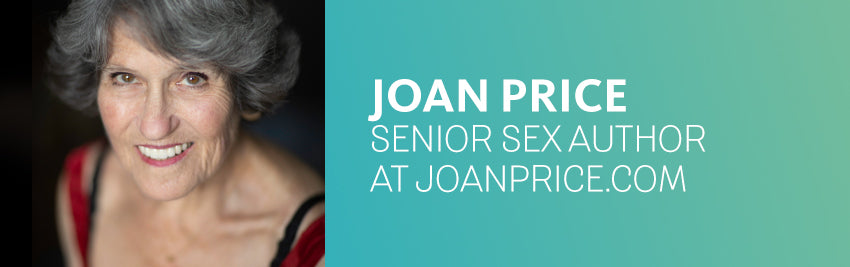 image of Joan Price, senior sex specialist at joanprice.com, looking up and smiling at camera