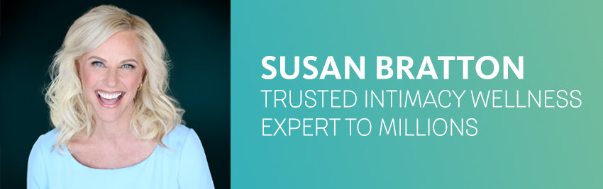 Image of Susan Bratton, intimacy and wellness expert, in a blue sweater smiling at camera