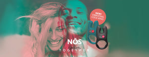 NOS, better together. NEW vibrating cock ring. Image shows overlaid images of smiling woman and man in teal and pink