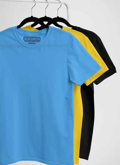 Combo of 3 Plain T-Shirts ( Blue Yellow Black )