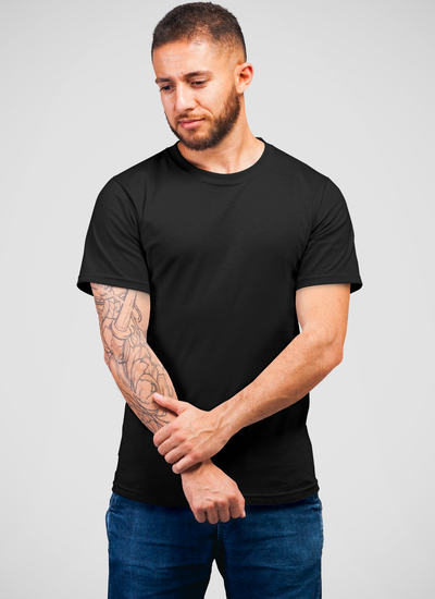 Black Round Neck Plain T-Shirt