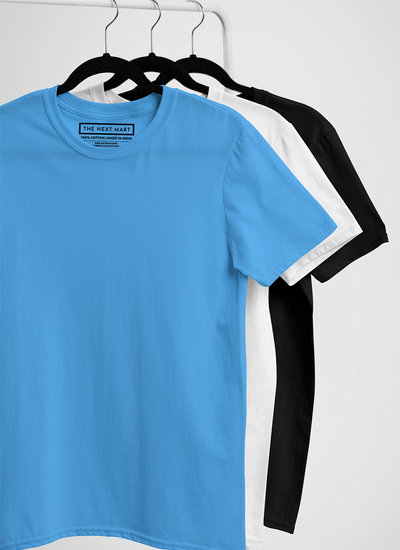 Combo of 3 Plain T-Shirts ( Blue White Black )