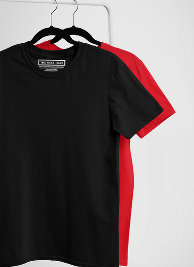 Combo of 2 Plain T-Shirts ( Black & Red )