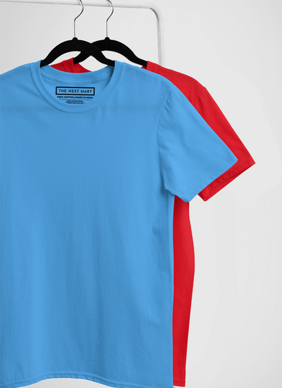 Combo of 2 Plain T-Shirts ( Blue & Red )