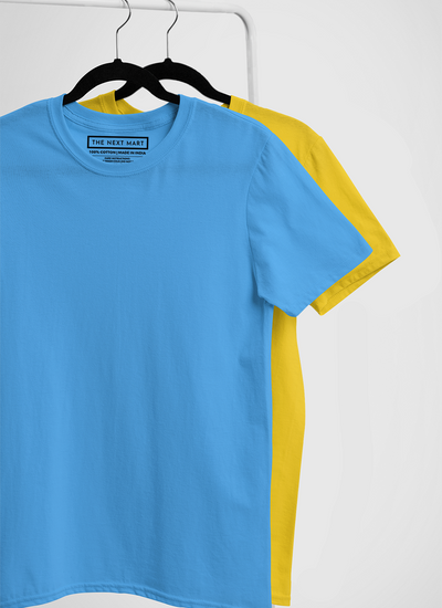 Combo of 2 Plain T-Shirts ( Blue & Yellow )
