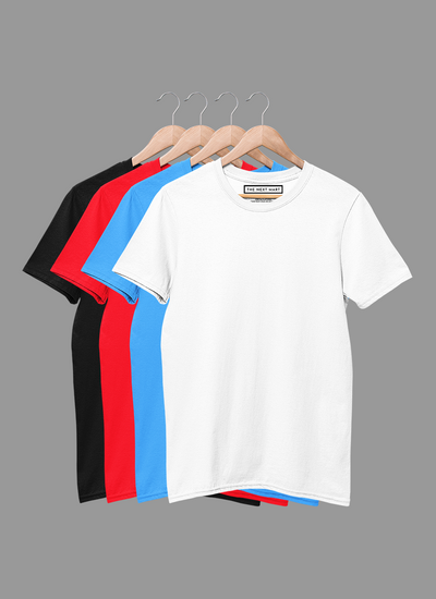 Combo of 4 Plain T-Shirts ( White Blue Red Black )