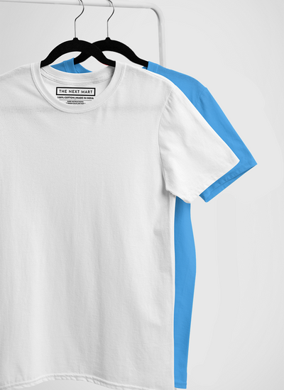 Combo of 2 Plain T-Shirts ( White & Blue )