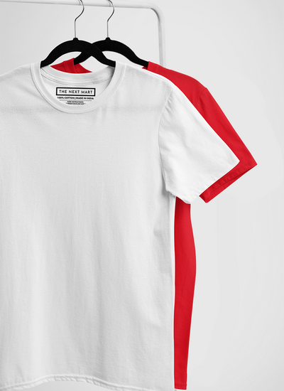 Combo of 2 Plain T-Shirts ( White & Red )