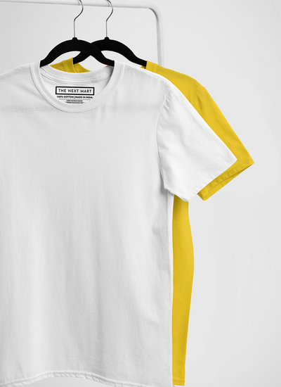 Combo of 2 Plain T-Shirts ( White & Yellow )