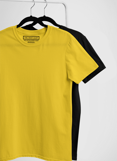 Combo of 2 Plain T-Shirts ( Yellow & Black )