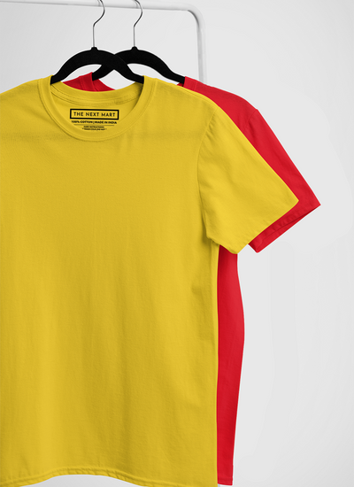 Combo of 2 Plain T-Shirts ( Yellow & Red )