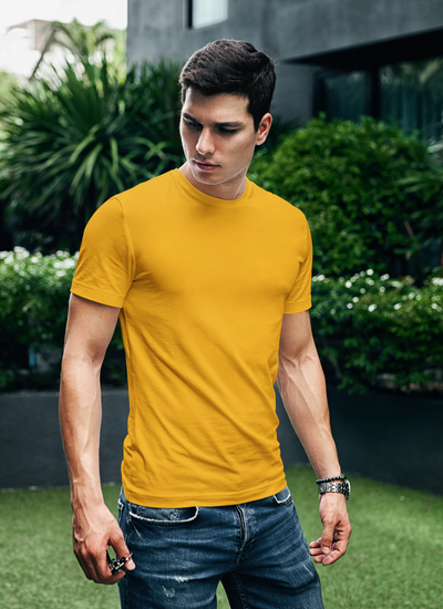 Golden Yellow Round Neck Plain T-Shirt