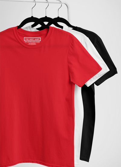 Combo of 3 Plain T-Shirts ( Red White Black )