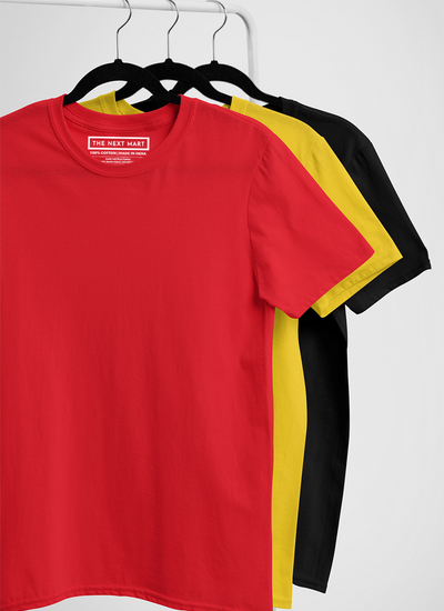 Combo of 3 Plain T-Shirts ( Red Yellow Black )
