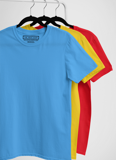 Combo of 3 Plain T-Shirts ( Blue Yellow Red )