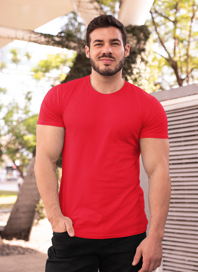 Red Round Neck Muscle Fit T-Shirt