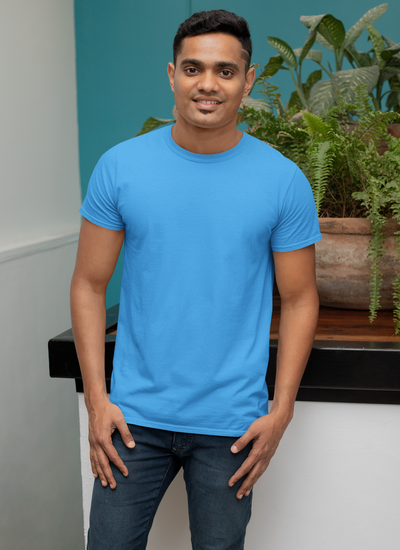 Sky Blue Round Neck Regular Fit T-Shirt