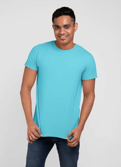 Turquoise Blue Round Neck Muscle Fit T-Shirt