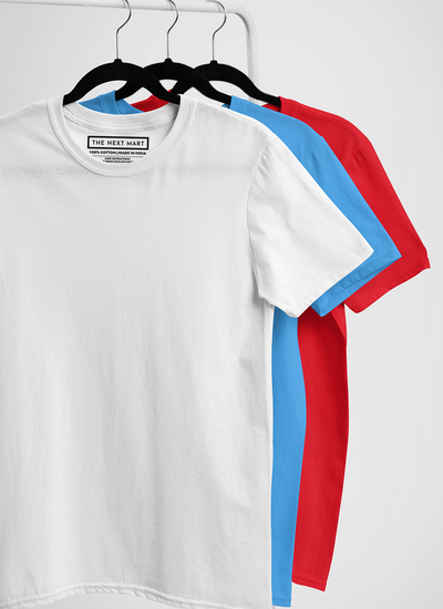 Combo of 3 Plain T-Shirts ( White Blue Red )