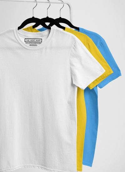 Combo of 3 Plain T-Shirts ( White Yellow Blue )