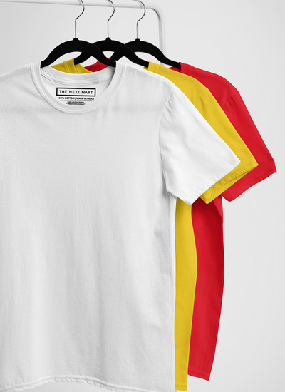 Combo of 3 Plain T-Shirts ( White Yellow Red )