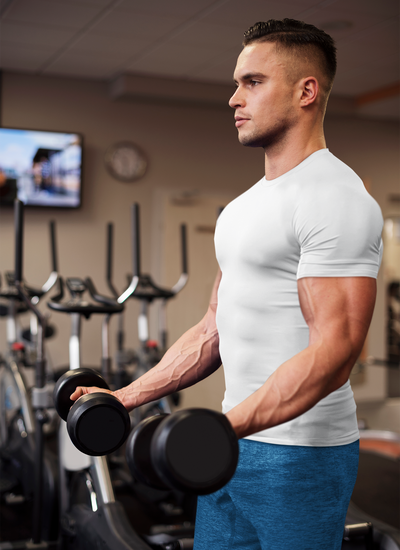 White Round Neck Muscle Fit T-Shirt