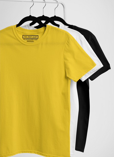 Combo of 3 Plain T-Shirts ( Yellow White Black )
