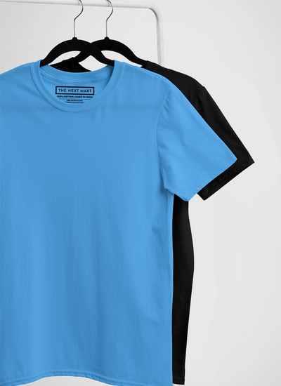 Combo of 2 Plain T-Shirts ( Blue & Black )