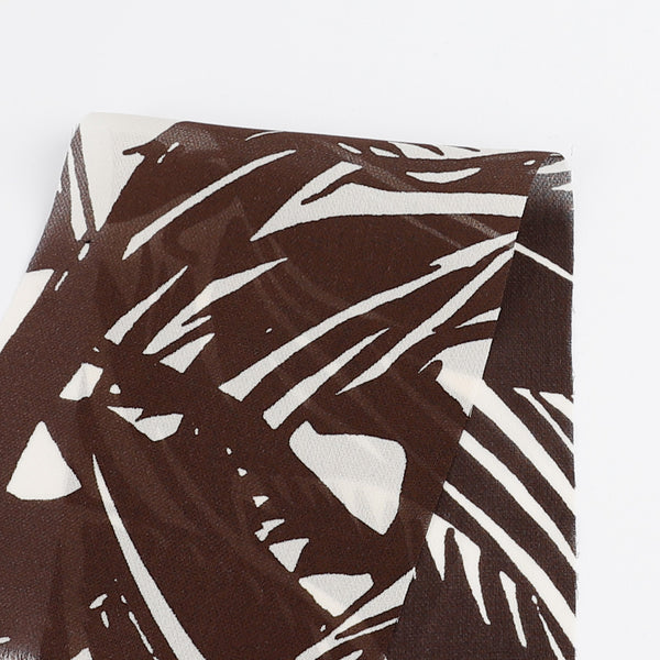 Abstract Palms Silk Georgette - Chocolate