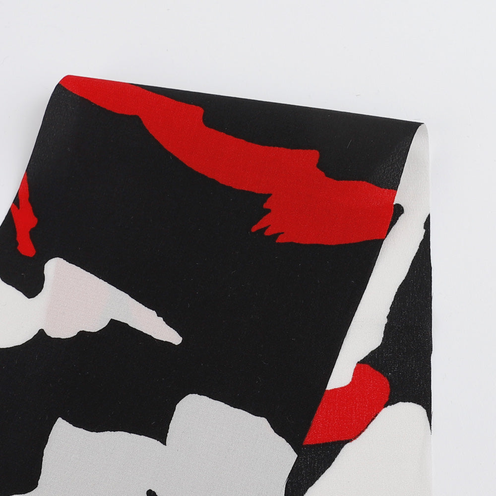 Abstract Stencil Print Stretch Silk Crepe De Chine - Red - buy online at The Fabric Store